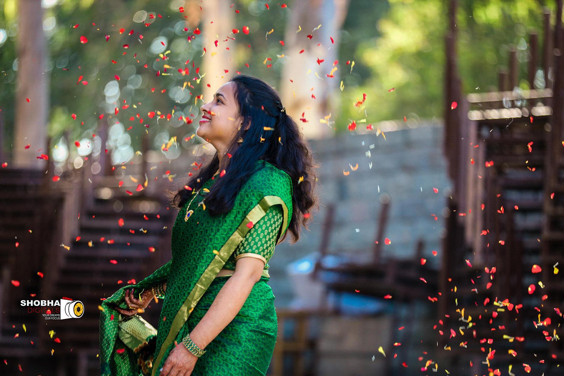 Shobha Digitals-Green Sari
